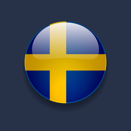 Round glossy icon with national flag of Sweden on dark blue background Stock Illustratie