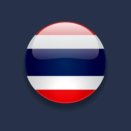 Icono brillante redondo con la bandera nacional de Tailandia en el fondo azul oscuro Vectores