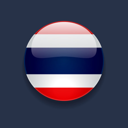 thai language: Round glossy icon with national flag of Thailand on dark blue background Illustration