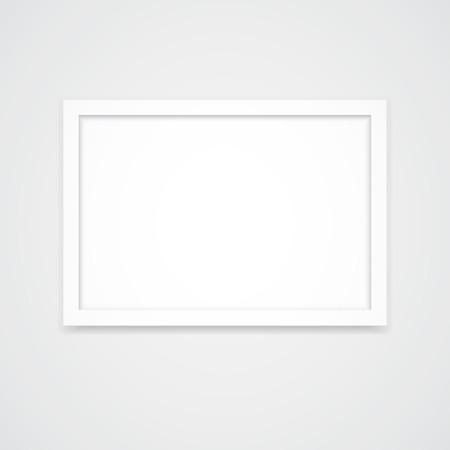 White photo frame with landscape orientation (3x2) isolated on white background