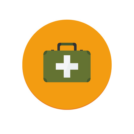 first aid sign: Flat design isolated vector first aid kit icon for web and mobile apps Illustration