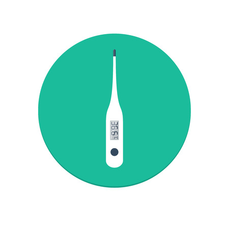 clinical thermometer: Flat design isolated vector electronic medical thermometer icon for web and mobile apps Illustration