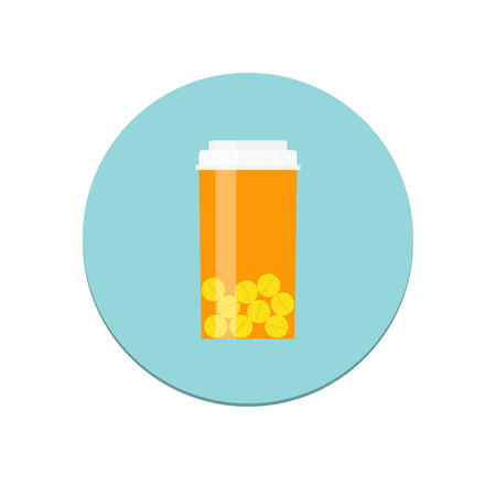 drugs pills: Flat design isolated vector prescription bottle icon for web and mobile apps