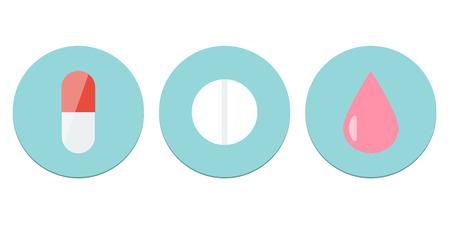 Dosis forma peque�o conjunto de iconos. De alta calidad meds iconos vectoriales. Dise�o plano.