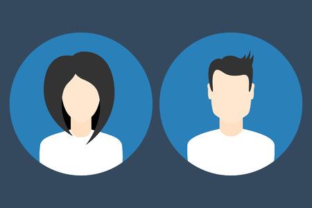 Femenina y masculina plana de perfil de usuario y fotos iconos