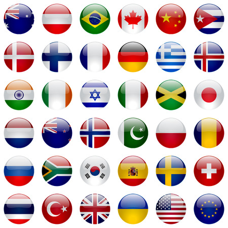World flags vector collection. 36 high quality round glossy icons. Correct color scheme. Çizim