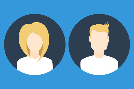 userpic: Flat female and male user profile avatar icons