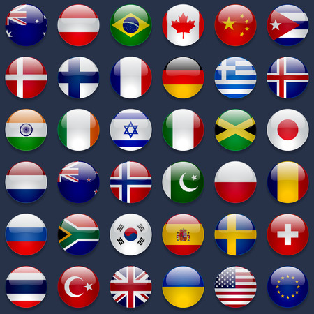 World flags vector collection. 36 high quality round glossy icons. Correct color scheme. Perfect for dark backgrounds. Vettoriali