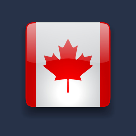Square glossy high quality icon with national flag of Canada on dark blue background