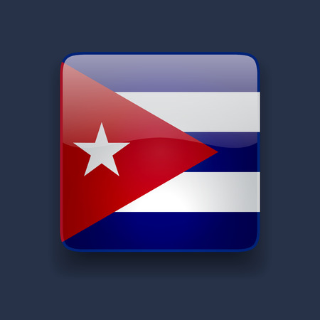 cuban flag: Square glossy high quality icon with national flag of Cuba on dark blue background