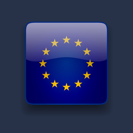 Square glossy high quality icon with flag of the European Union on dark blue background Illustration