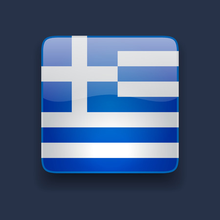 Square glossy high quality icon with national flag of Greece on dark blue background