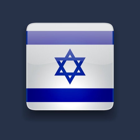 Square glossy high quality icon with national flag of Israel on dark blue background