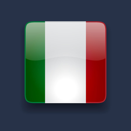 Cuadrado del icono brillante de alta calidad con la bandera nacional de Italia sobre fondo azul oscuro