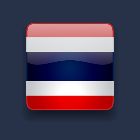 thai language: Square glossy high quality icon with national flag of Thailand on dark blue background