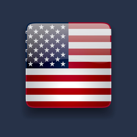 Square glossy high quality icon with national flag of the USA on dark blue background 向量圖像