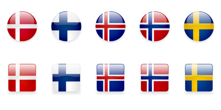 The Nordic countries flags icons on white background. Correct color scheme.