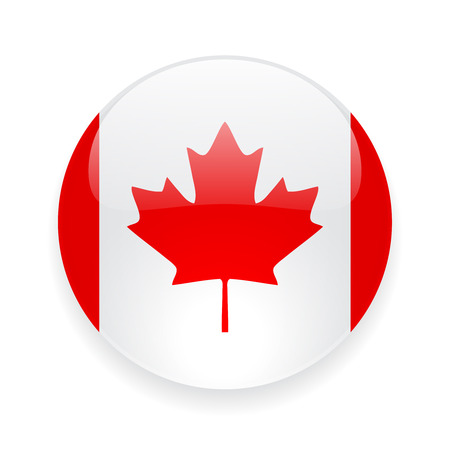 Round glossy icon with national flag of Canada on white background