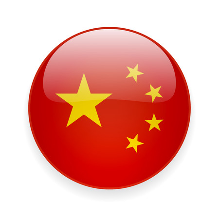 Round glossy icon with national flag of China on white background