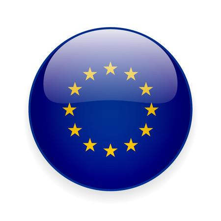 Ronde glanzende pictogram met de vlag van de Europese Unie op een witte achtergrond