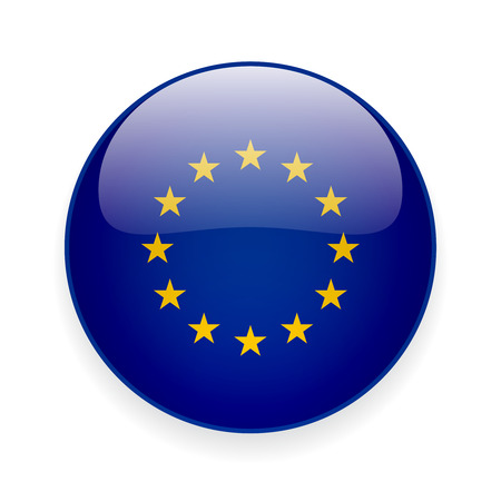 Round glossy icon with flag of the European Union on white background