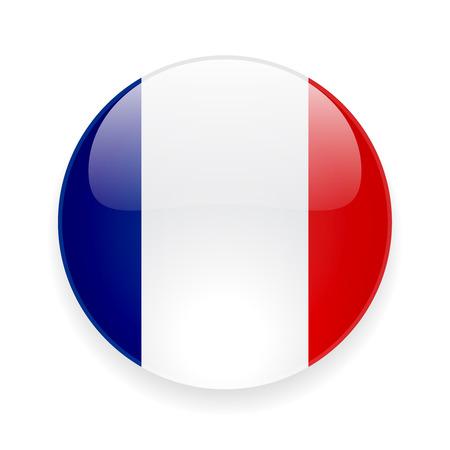 Icono brillante redondo con la bandera nacional de Francia en el fondo blanco Vectores