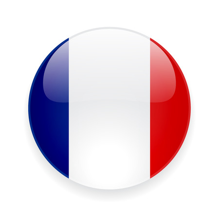 Round glossy icon with national flag of France on white background