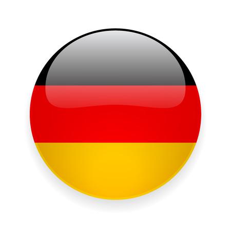 Icono brillante redondo con la bandera nacional de Alemania en el fondo blanco Vectores