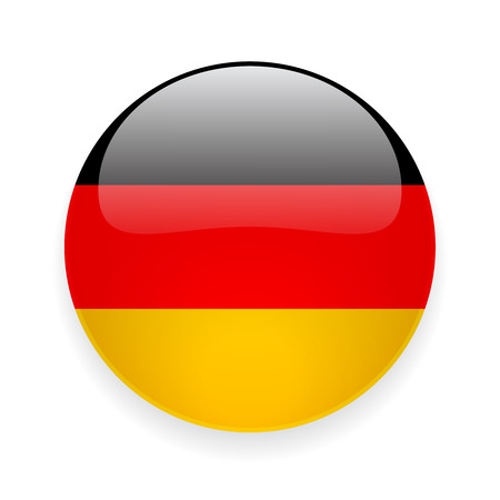 Round glossy icon with national flag of Germany on white background