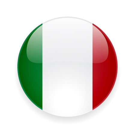 Round glossy icon with national flag of Italy on white background Stock Illustratie