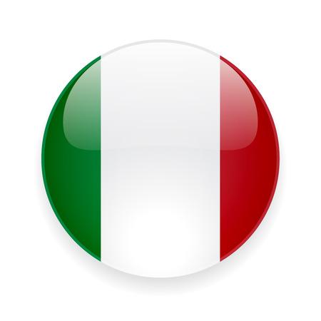 Ronde glanzende pictogram met nationale vlag van Italië op een witte achtergrond