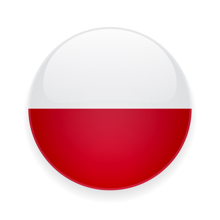 Round glossy icon with national flag of Poland on white background