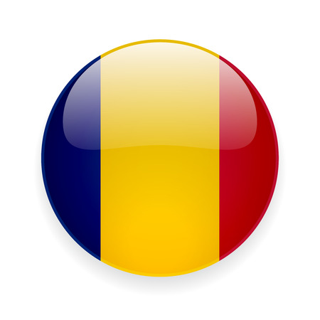 Round glossy icon with national flag of Romania on white background