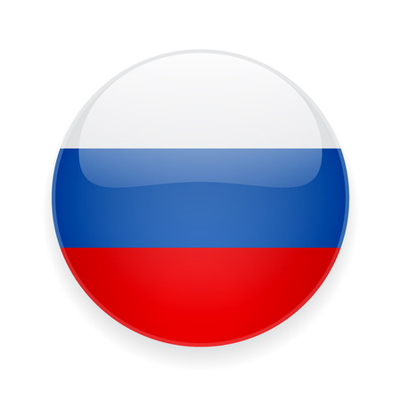 Round glossy icon with national flag of Russia on white background