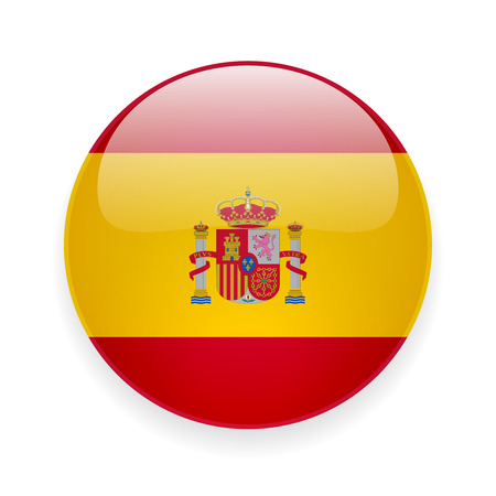 Round glossy icon with national flag of Spain on white background