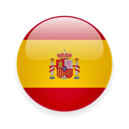 Ronde glanzende pictogram met de nationale vlag van Spanje op witte achtergrond