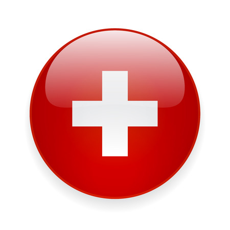 Round glossy icon with national flag of Switzerland on white background