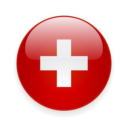 Round glossy icon with national flag of Switzerland on white background