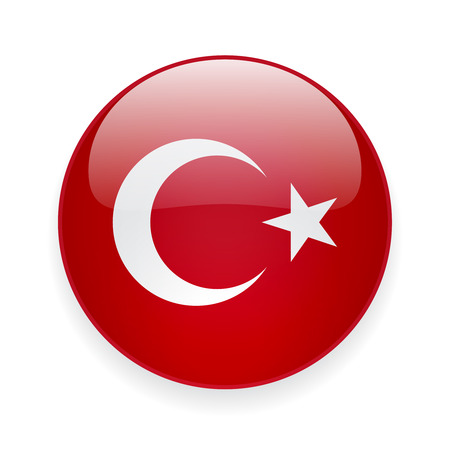 Round glossy icon with national flag of Turkey on white background Stock Illustratie