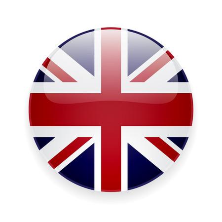 bandera uk: Icono brillante redondo con la bandera nacional del Reino Unido en el fondo blanco