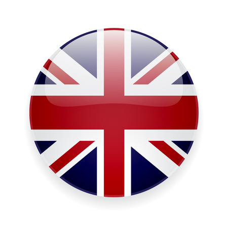 in english: Round glossy icon with national flag of the UK on white background
