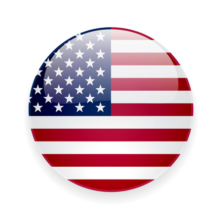 Round glossy icon with national flag of the USA on white background Stock Illustratie