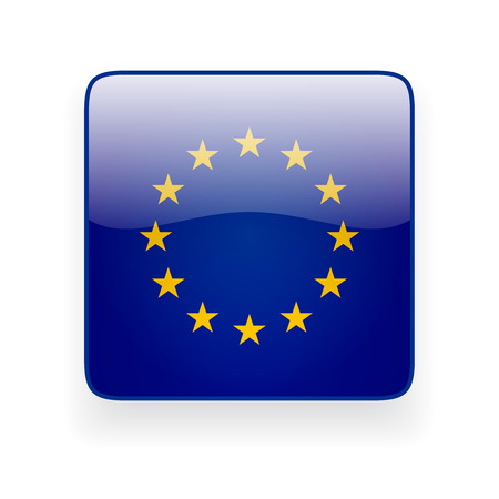 Square glossy icon with flag of the European Union on white background