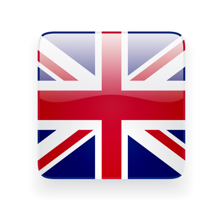 Square glossy icon with national flag of the UK on white background