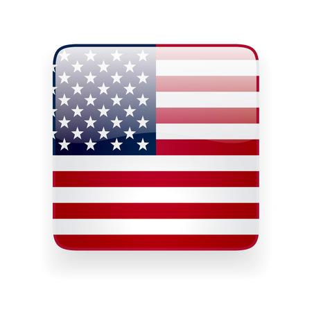 正方形の白い背景の上のアメリカの国旗と光沢のあるアイコン