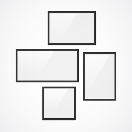 orientation: Set of high quality black vector photo frames. Four different orientation (landscape, portrait, panorama, square).