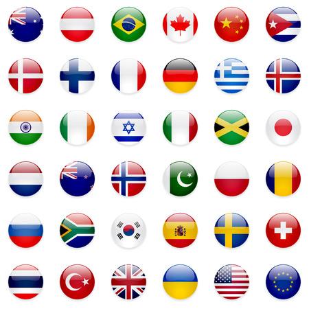 Coleção de vetores de bandeiras do mundo. 36 ícones redondos limpos de alta qualidade. Esquema de cores correto.