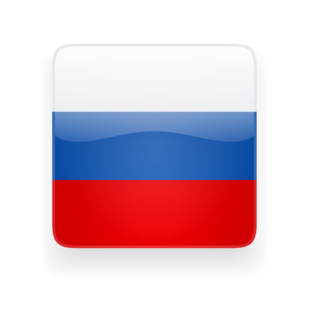 Square glossy icon with national flag of Russia on white background