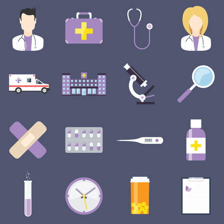 first aid sign: Flat design medical concept vector icon set. Design elements for web and mobile apps. Illustration