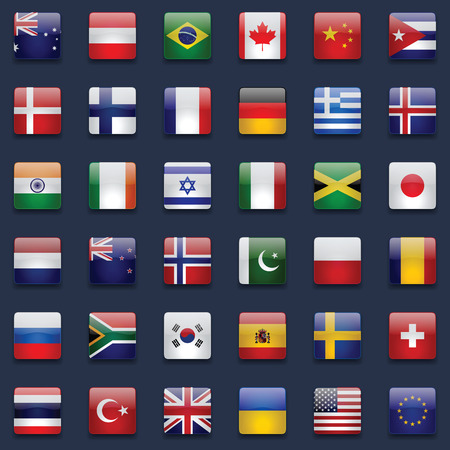 World flags vector collection. 36 high quality square glossy icons. Correct color scheme. Perfect for dark backgrounds. Vettoriali